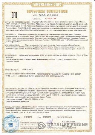 Сертификат КПСнг(А)-FRLS, КПСЭнг(А)-FRLS, КПСнг(А)-FRHF, КПСЭнг(А)-FRHF